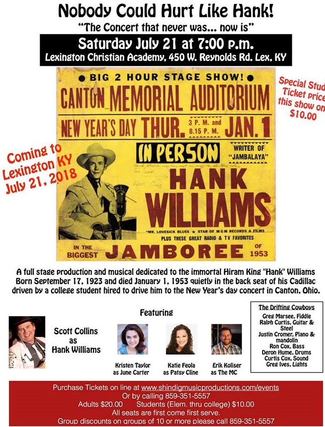 Mike & Mary are involved in a stage production about the life of Hank Williams:  Nobody Could Hu